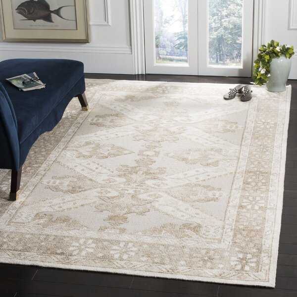 Hebert Hand-Knotted Beige Area Rug by Astoria Grand