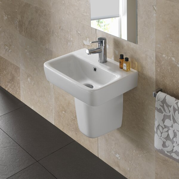 Comprimo Vitreous China 18 Wall Mount Bathroom Sink with Overflow by Bissonnet