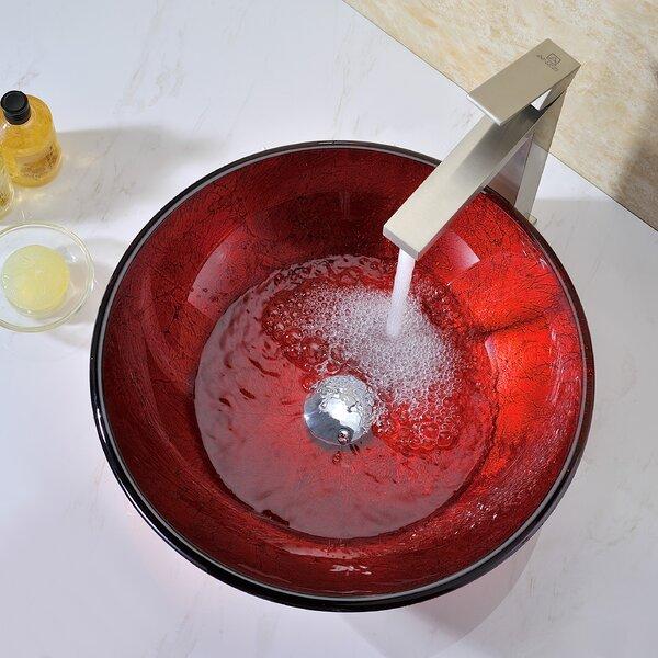 Crown Glass Circular Vessel Bathroom Sink by ANZZI