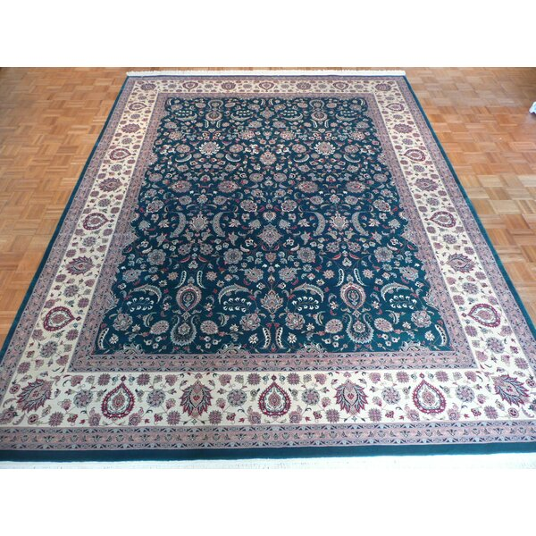 One-of-a-Kind Pellegrino Hand-Knotted Wool Green Area Rug by Bloomsbury Market