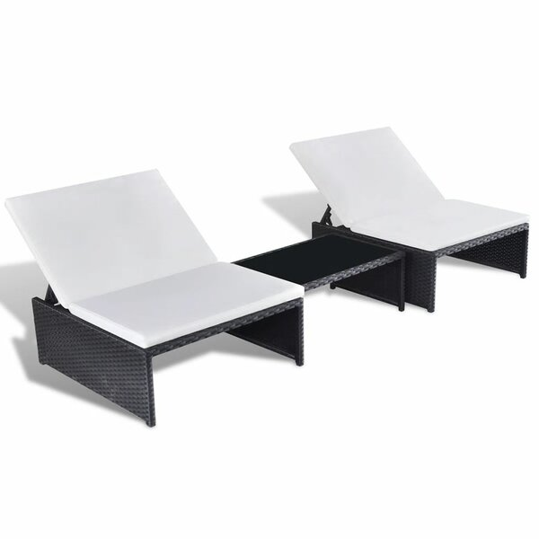 Vesely Sun Lounger Set with Cushions and Table by Highland Dunes Highland Dunes