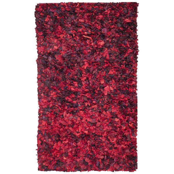 Messiah Red Shag Rug by Bungalow Rose