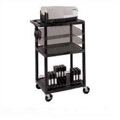 Multi-Height Open Shelf Table AV Cart with Locking Cabinet by Luxor