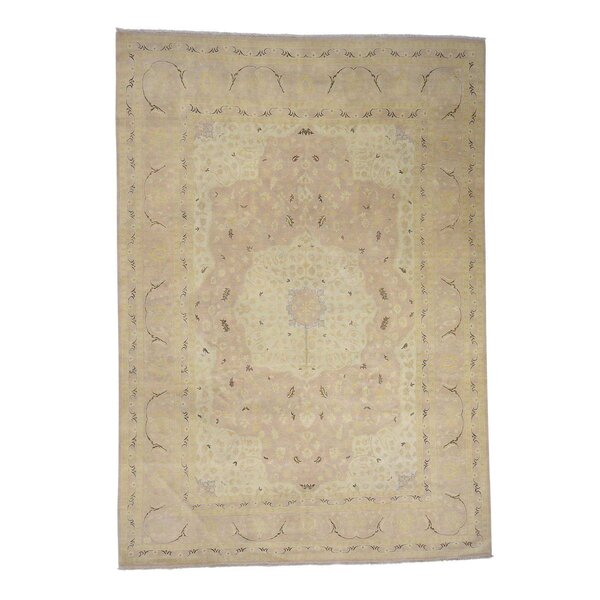 One-of-a-Kind Hargraves Tabriz Dense Weave Washed Oriental Hand-Knotted Brown Area Rug by World Menagerie