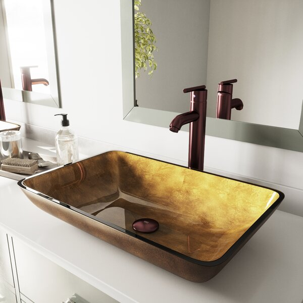 Copper Glass Rectangular Vessel Bathroom Sink by V