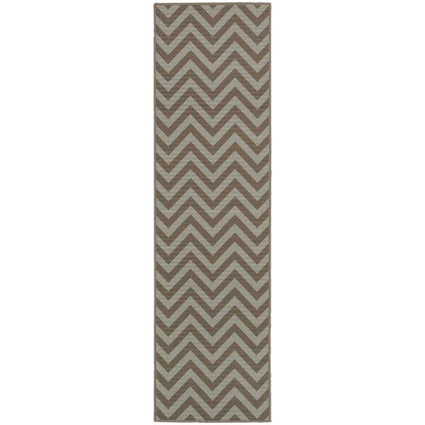 Heath Grey/Blue Chevron Indoor/Outdoor Area Rug by Ebern Designs