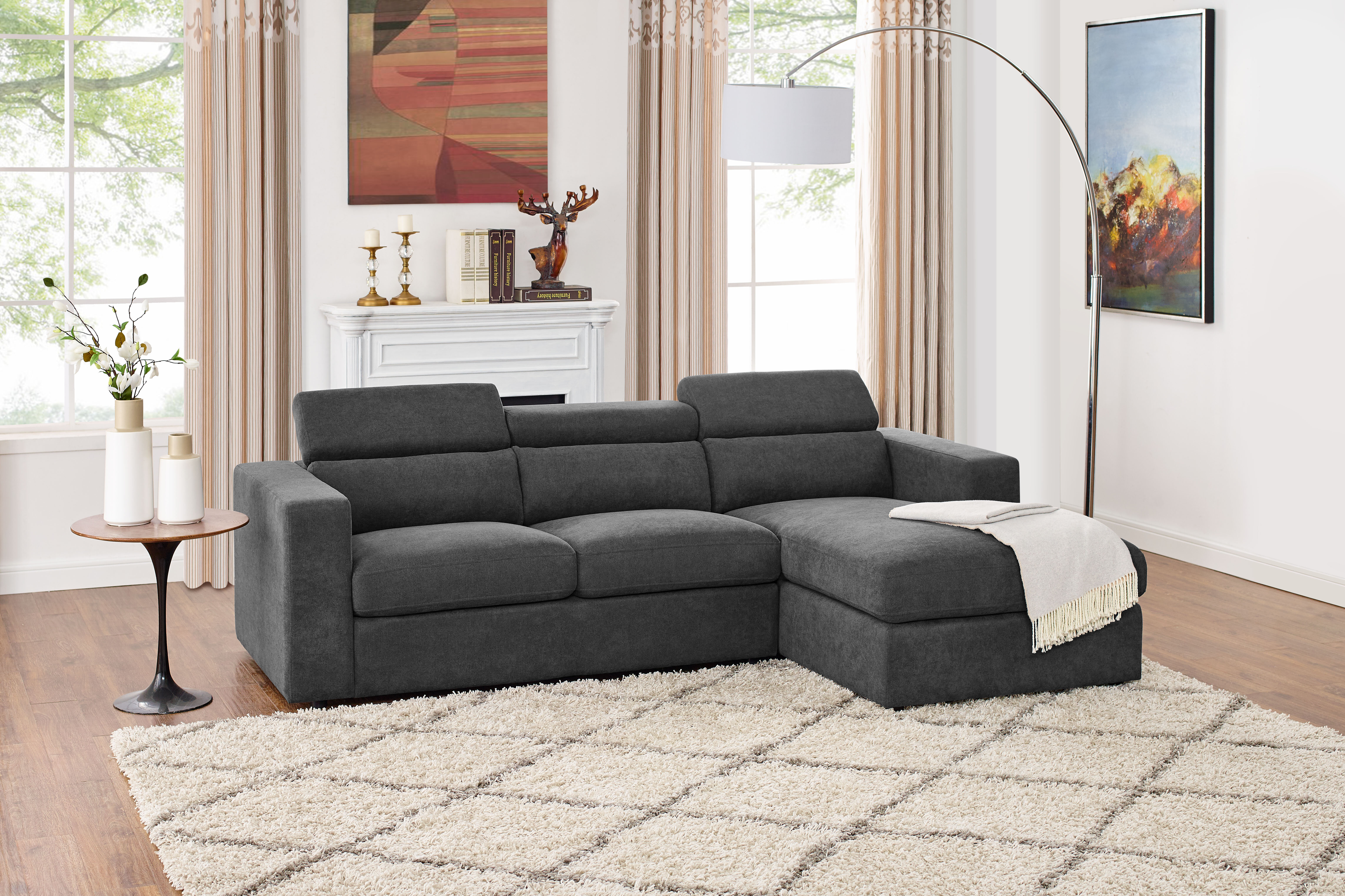 Fowlerville 3 Seater Right Hand Facing Sectional Sofa With Ottoman