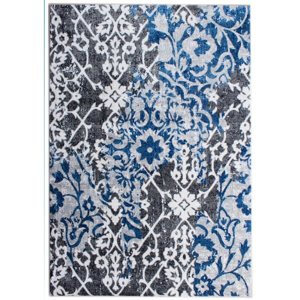 Rosie Transitional Ikat Distressed Gray/Blue Area Rug by Bungalow Rose
