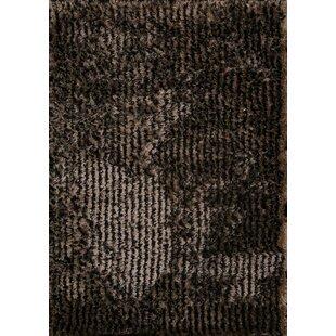 Compare prices Katharine Shaggy Oriental Hand-Tufted Black Area Rug ByRed Barrel Studio