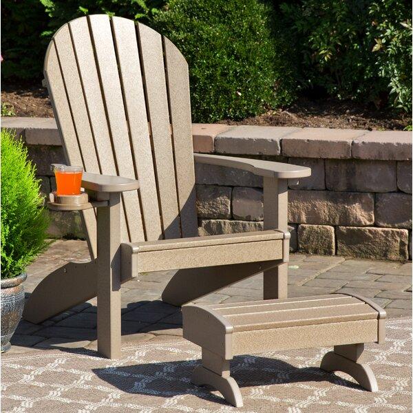 Deniela Polywood Adirondack Chair with Ottoman by Bayou Breeze