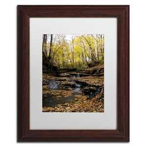 'Lakeview Autumn Falls #3' Matted Framed Wall Art by Trademark Global