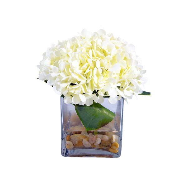 Cube Hydrangea Floral Arrangement in Vase by August Grove