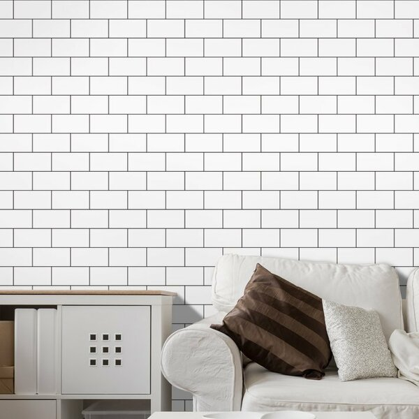12 x 12 Peel & Stick Subway Tile in White by Art3d