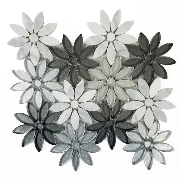 Flower Fusion Marble/Glass Tile in Gray/Silver by