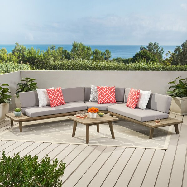 Eaman 4 Piece Sectional Seating Group with Cushions