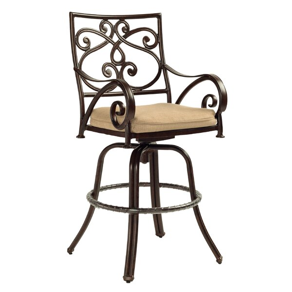 Lucerne Cast Swivel Patio Bar Stool by Leona