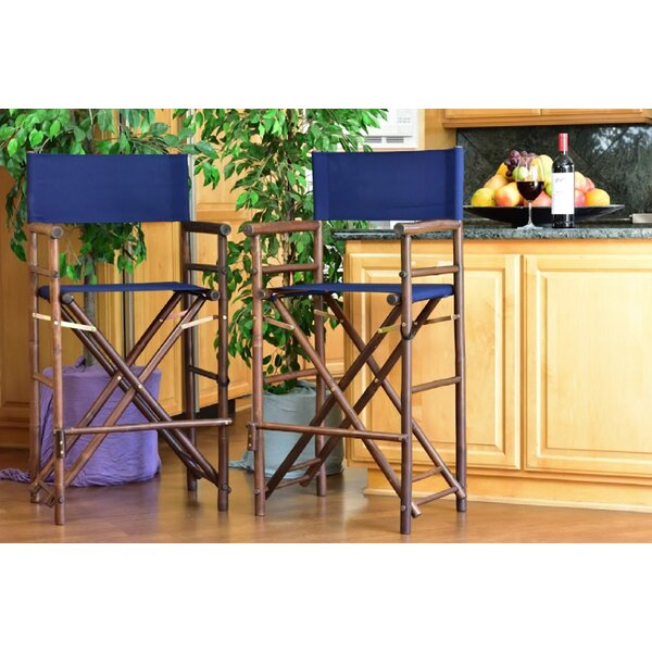 Nadya Bamboo 30-inch Patio Bar Stool (Set Of 2) By Bungalow Rose