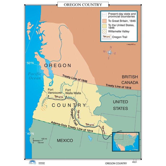 U.S. History Wall Maps - Oregon Country on us map portland oregon, state map of oregon, us map wisconsin, us map california, atlas of oregon, travel map oregon, us map idaho, rand mcnally map of oregon, us map washington, county map of oregon, us map missouri, map of aloha oregon,