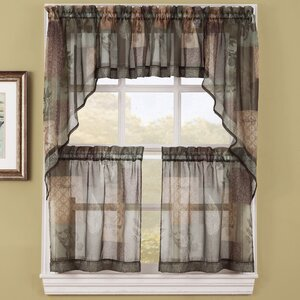Eden Sheer Kitchen Curtain Swag Valance Pair (Set of 2)