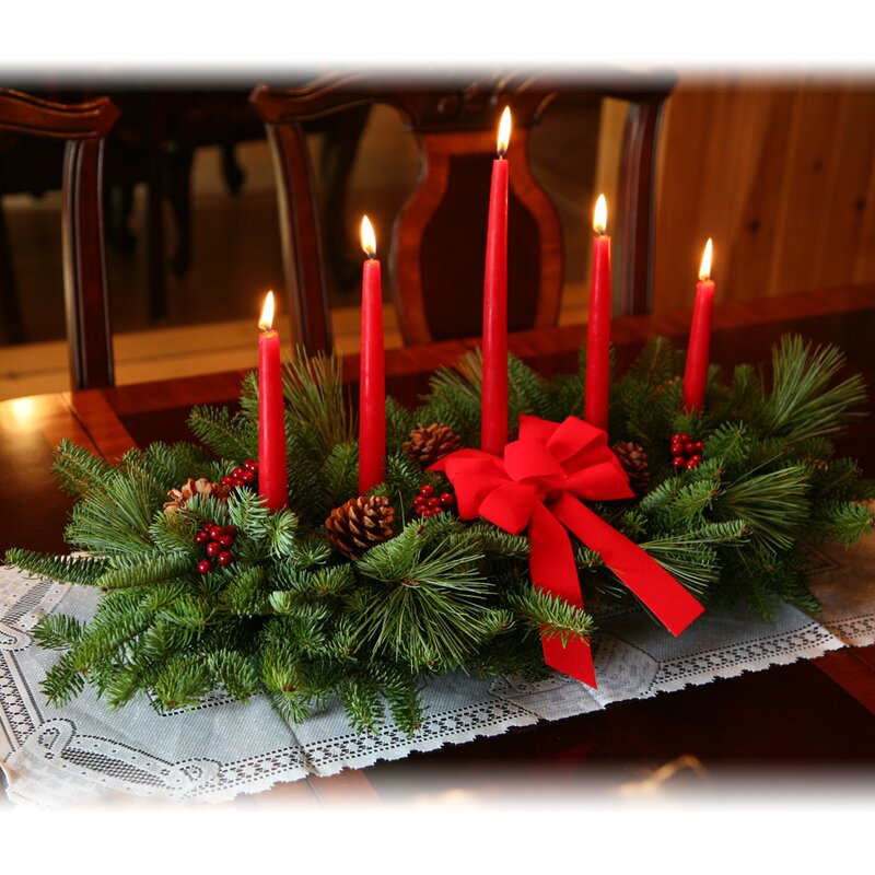 Classic 5 Candle Centerpiece with real pine cones and faux holly berries