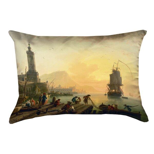 Stiles Vernet Mediterranean Port Outdoor Lumbar Pillow by Astoria Grand