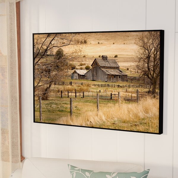 Roadside Barn Framed Photographic Print on Gallery Wrapped Canvas by August Grove