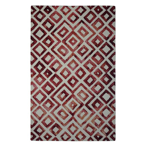 Wool Hand-Tufted Ivory/Wine Red Area Rug by Eastern Weavers