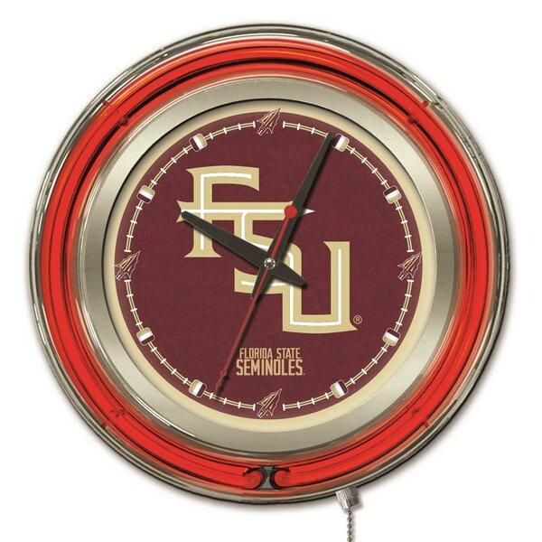 NCAA 15 Double Neon Ring Logo Wall Clock by Holland Bar Stool