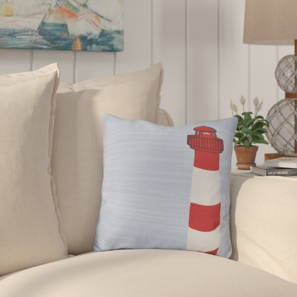 Lewiston Light House Geometric Outdoor Throw Pillow by Breakwater Bay