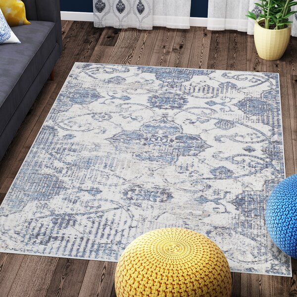 Andrews Distressed Tibetan Blue Area Rug by Bungalow Rose