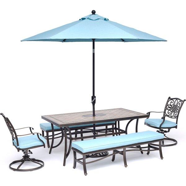 Bucci 5 Piece Dining Set with Umbrella by Fleur De Lis Living