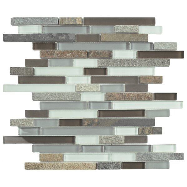 Sierra Random Sized Glass and Natural Stone Mosaic Tile in Brown/Gray by EliteTile