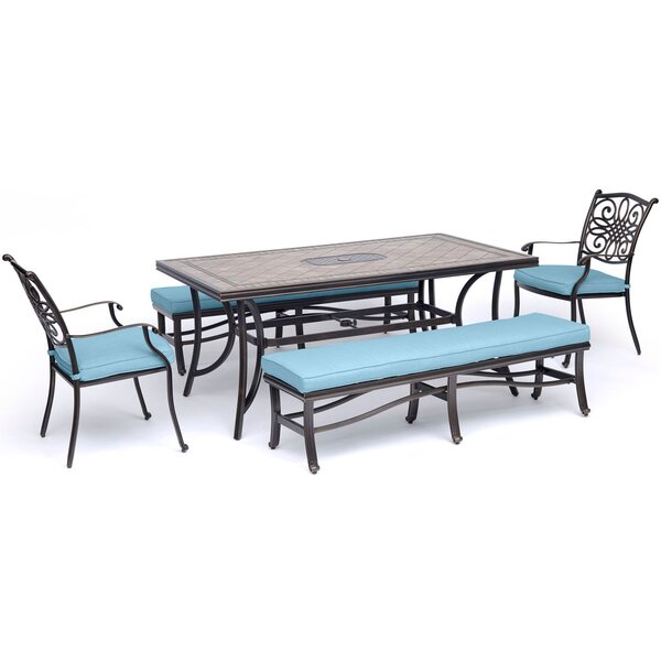 Sandefur 5 Piece Dining Set with Cushions
