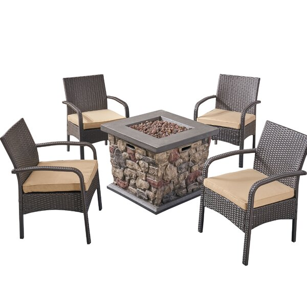 Centerville 5 Piece Rattan Sofa Seating Group with Cushions by Alcott Hill Alcott Hill