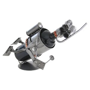 Scuba with Camera 1 Bottle Tabletop Wine Rack by H & K SCULPTURES