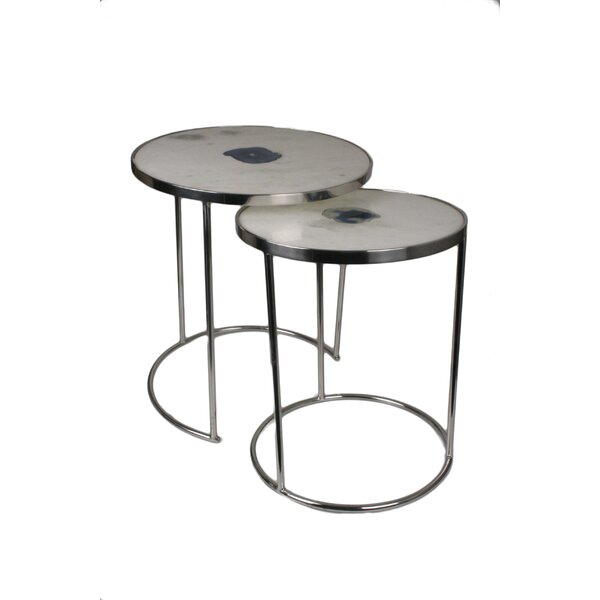 Marble Round 2 Piece Nesting Tables by Jodhpuri