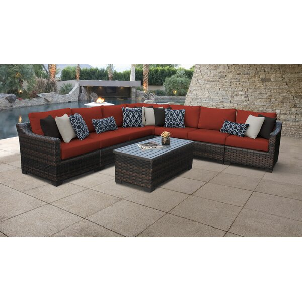 River Brook Outdoor 8 Piece Rattan Sectional Seating Group with Cushions