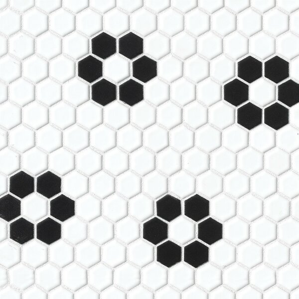 Hex 1 x 1 Porcelain Deco Mosaic Tile in Black and White by Grayson Martin