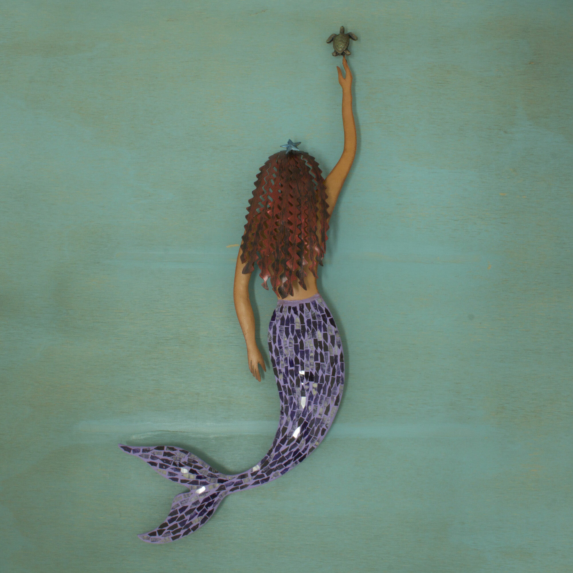 World Menagerie Alister Artisan Crafted Mermaid And Turtle Mosaic Ocean Friends Mexican Iron And Glass Home And Room Wall Decor Reviews Wayfair