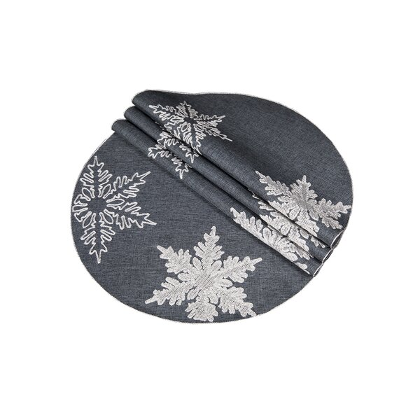 Snowflake Embroidered Christmas Round Placemat (Set of 4) by The Holiday Aisle