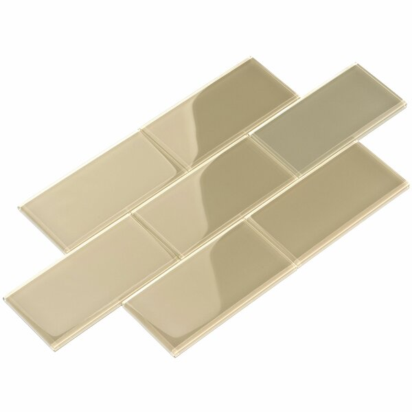 3 x 6 Glass Subway Tile in Light Taupe by Giorbello