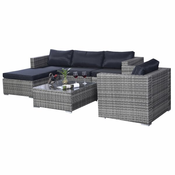 Elijia 6 Piece Rattan Sectional Seating Group with Cushions by Latitude Run