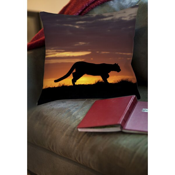 Cougar Silhouette Printed Throw Pillow by Manual Woodworkers & Weavers