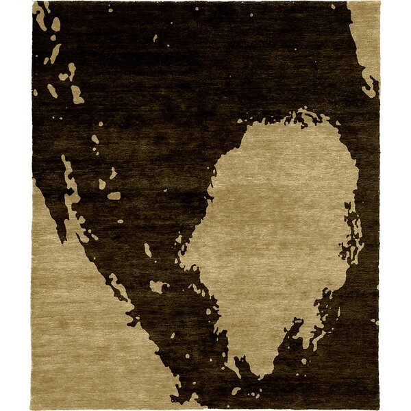One-of-a-Kind Preston Hand-Knotted Beige/Black 6' x 9' Wool Area Rug