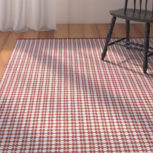 Mollie Plaid Hand-Knotted Bright Red Indoor / Outdoor Area Rug