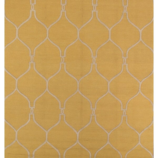Batten Trellis Oushak Oriental Hand-Tufted Wool Yellow Area Rug by Canora Grey