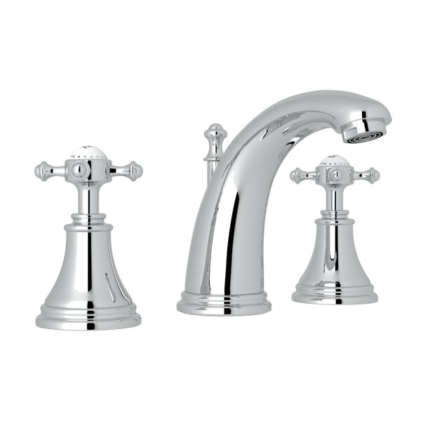 Georgian Era High Neck Widespread Bathroom Faucet With Drain Assembly By Perrin & Rowe