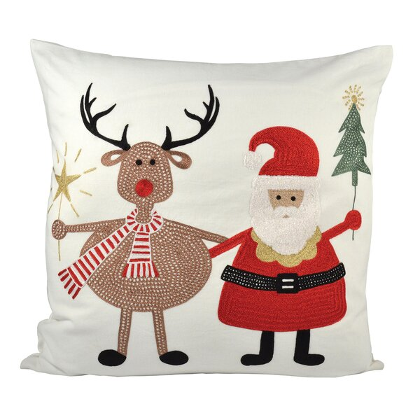 Santa And Friends Cotton Throw Pillow by The Holiday Aisle