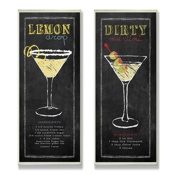 Lemon Drop and Dirty Martini Chalkboard Look 2 Piece Textual Art Wall Plaque Set by Stupell Industries