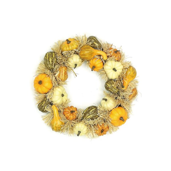 20 Mixed Pumpkin Wreath by Select Artificials